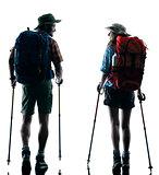 couple trekker trekking nature silhouette walking