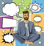 Businessman Hipster in Lotus Pose Meditating With Bubble Speech