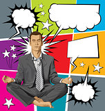 Vector Businessman in Lotus Pose Meditating With Bubble Speech