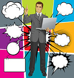 Vector Business Man Shows Something With Finger And Bubble Speec