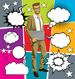 g-businessman hipster with laptopr And Bubble Speech