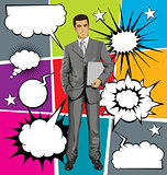 Vector Businessman With Laptopr And Bubble Speech