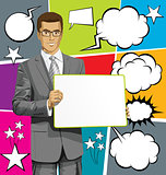 Vector Business Man with Empty Write Boardr And Bubble Speech