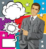 Vector Business Man Show Something With Finger And Big Set Of Bu