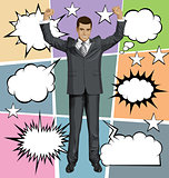 Vector Businessman With Hands Upr And Bubble Speech