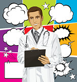 Vector Doctor Man With Clipboardr And Bubble Speech