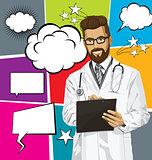 Vector Hipster Doctor Man With Clipboardr And Bubble Speech