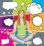Vector woman meditating in lotus pose with set of speech bubble
