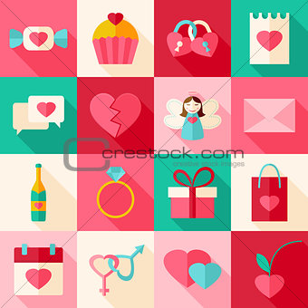 Valentine day flat style icon set with long shadow