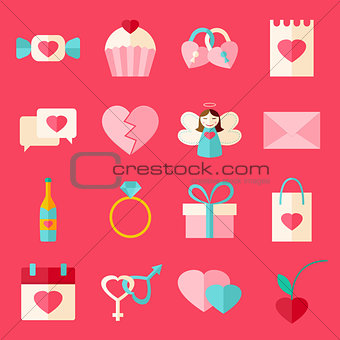 Valentine day flat style icon set over pink