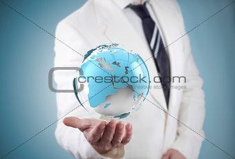 businessman and globe world map.