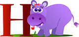 Cute hippopotamus with alphabet letter H