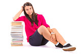 young student girl with stack of books on withe