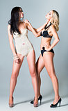 Studio fashion shot: opposition of two lovely girls (blonde and brunette) in underwear
