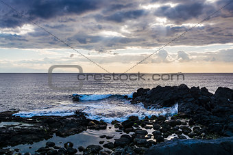 Sky with clouds over the sea at Giardini-Naxos, Sicily, Italy