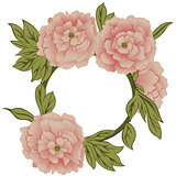 Floral frame with peonies