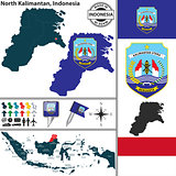 Map of North Kalimantan, Indonesia