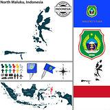 Map of North Maluku, Indonesia