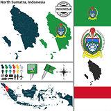Map of North Sumatra, Indonesia