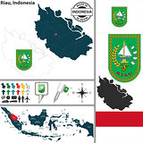Map of Riau, Indonesia