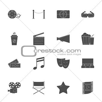 Cinema silhouettes icons set