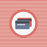 Two credit cards color flat icon