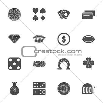 Casino silhouette icons set