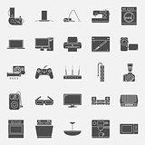 Home electrical appliances silhouettes icon set