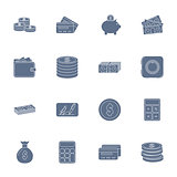 Money and financial silhouettes icons set