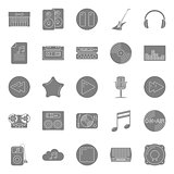 Music and audio silhouettes icons set