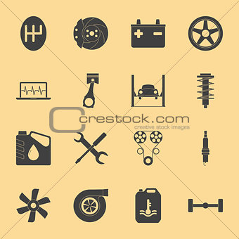 Car service silhouette icons set