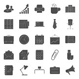 Office and marketing silhouettes icons set