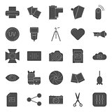 Photo equipment end editing silhouettes icons set