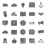 Seo and e-marketing silhouetetes icon set