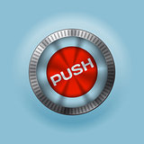 Shiny metallic  button with push text
