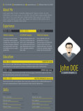 Modern curriculum vitae resume with dark background