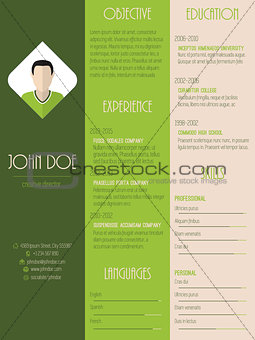 Modern resume curriculum vitae in green with stripes