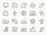 Network Communication and Electronics Line Icons