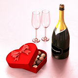 Chocolate box with a champagne and two glasses.