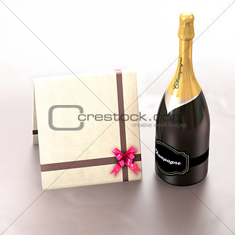Greeting card with copy left and champagne.