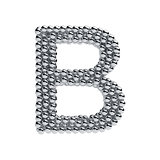Metallic spheres alphabet letter symbol - B isolated on white ba
