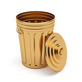 Golden opened trash can isolated on white background