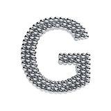 Metallic spheres alphabet letter symbol - G isolated on white ba
