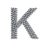 Metallic spheres alphabet letter symbol - K isolated on white ba