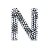 Metallic spheres alphabet letter symbol - N isolated on white ba