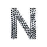 Metallic spheres alphabet letter symbol - N isolated on white ba