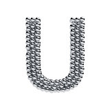 Metallic spheres alphabet letter symbol - U isolated on white ba