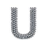 Metallic spheres alphabet letter symbol - U isolated on white ba
