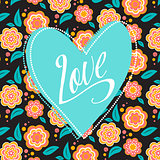 Postcard with turquoise heart on dark floral pattern. Wedding card. Sign Love. Seamless pattern inside