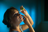 Woman With Eyes Tired Applying Collyrium Eye Drops
